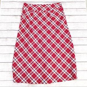 Laura Scott Plaid Holiday Midi Skirt